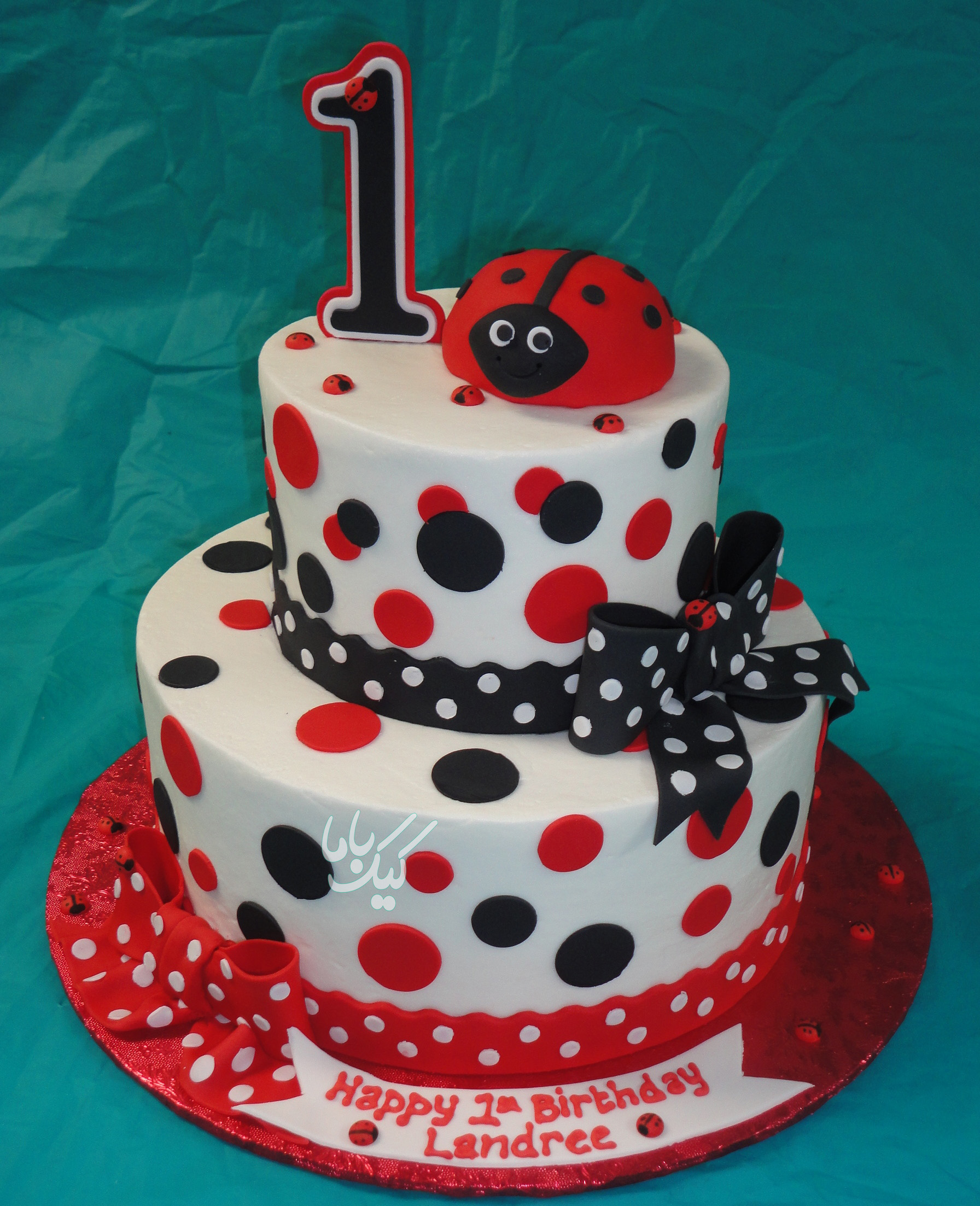 fondant-ladybug-birthday-cake-for-baby-girls-www.cakebama.com